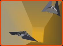 Konzeptgrafik, die Raumschiffe beim Rennen durch einen Tunnel zeigt (2)