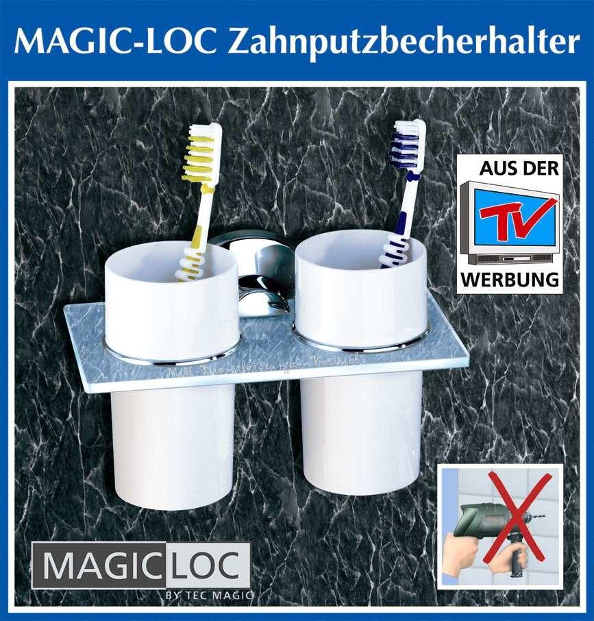 Dusche Halter Ohne Bohren : Details zu MAGIC LOC 2er ZAHNPUTZBECHER mit Halter ohne bohren